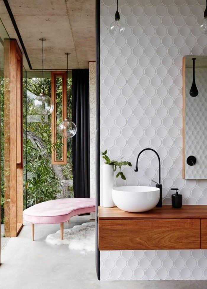 idee deco salle de bain contemporaine meuble salle de bain bambou pas cher