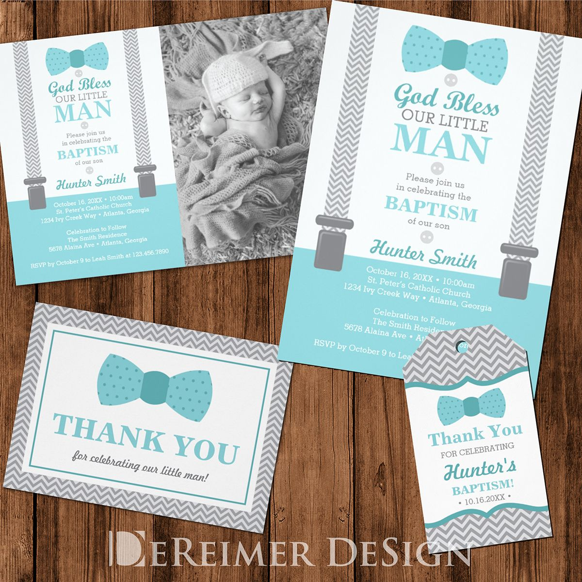 Baptism Invitation Little Man Boy Teal Aqua Gray Chevron Bow