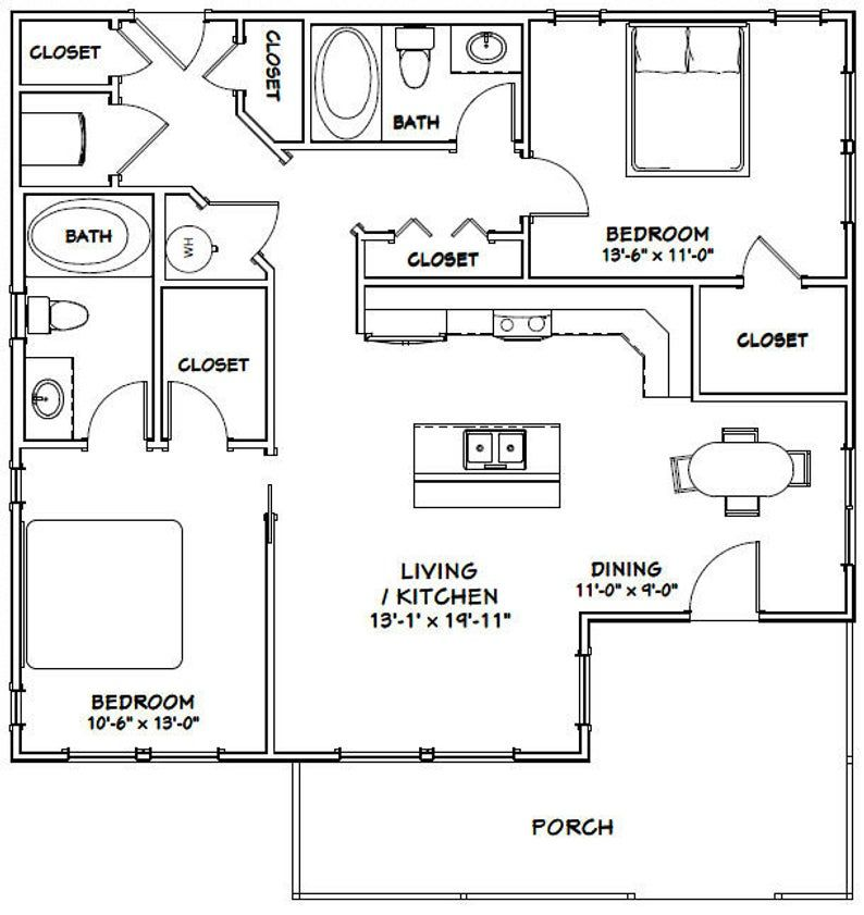 36x32 House 2Bedroom 2Bath 1,082 sq ft PDF