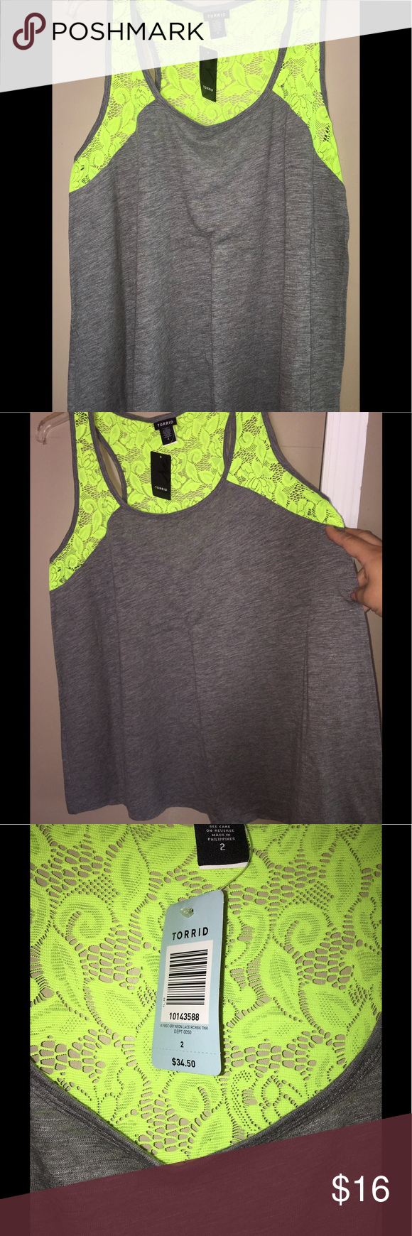⚡️NWT Torrid Neon Green Lace Top ⚡️ NWT Racerback tank with bright neon green lace. The gray is a Slub material so it's very breathable and light for summer months. This top will definitely make heads turn ‼️ torrid Tops Tank Tops