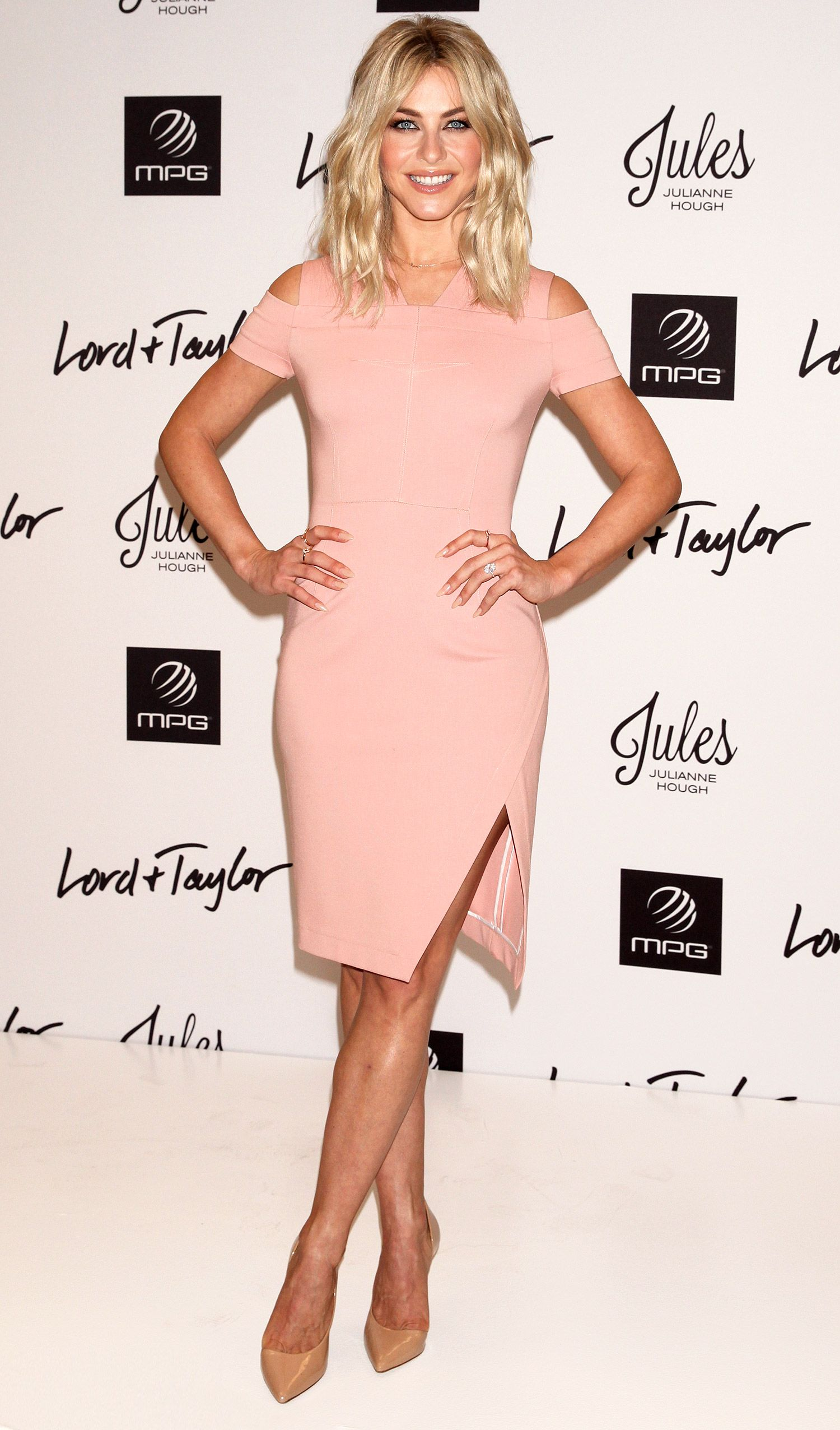 Lo lo lord and taylor party dresses - Julianne Hough Wears A Blush Cold Shoulder Sheath Dress And Nude Kurt Geiger London Pumps At The Lord Taylor Launch Of Her Jules X Mpg Sport Activewear