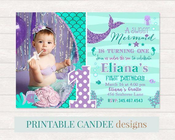 mermaid 1st birthday invitation mermaid