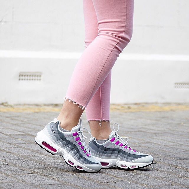 #Shop our @nike Air Max 95 in pure platinum hyper violet wolf grey straight