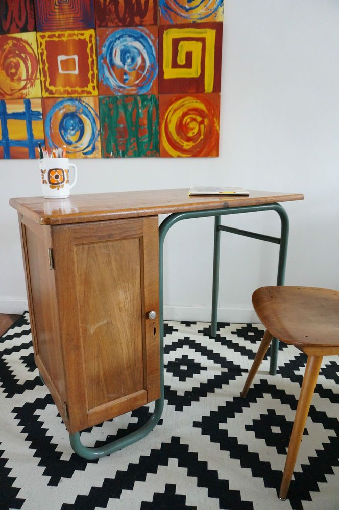 bureau maitre d cole vintage r tro m tal et bois mamamuce vintage. Black Bedroom Furniture Sets. Home Design Ideas