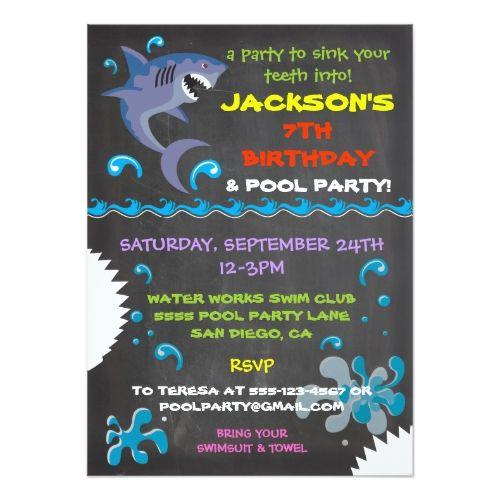 chalkboard shark pool birthday party invitations shark birthday