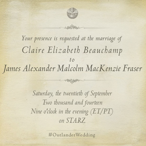 Official invitation to jamie and claires wedding outlander official invitation to jamie and claires wedding stopboris Image collections
