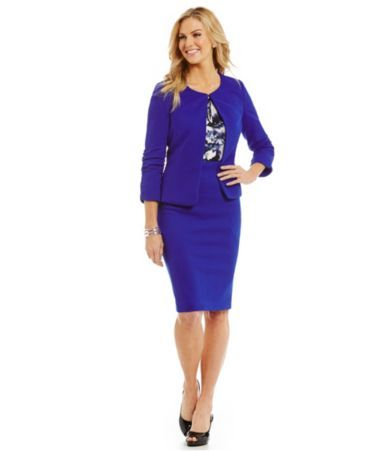 Office style ! Abigail Jacquard Jacket  & Ellie Jacquard Pencil Skirt/ Cobalt Blue