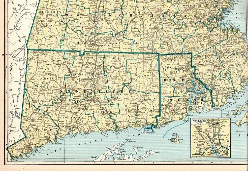 1931 Antique MASSACHUSETTS Map Rhode Island Map Connecticut Map ...