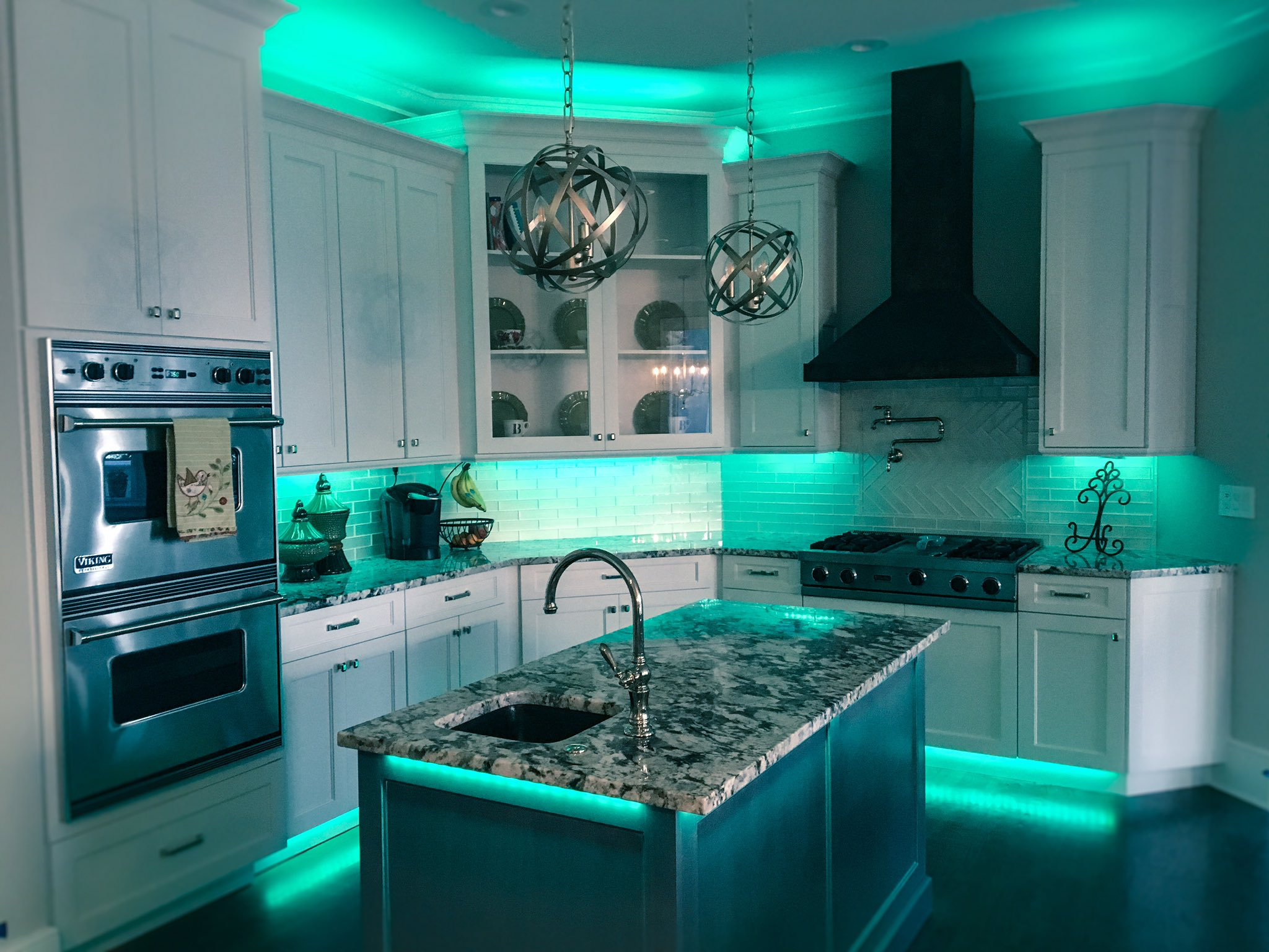 full color led accent lighting great for kitchens and man caves by railtech led - Led Cabinet Lighting