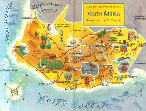 South Africa Map Art / Vintage Map for Kids / Travel Map Decor