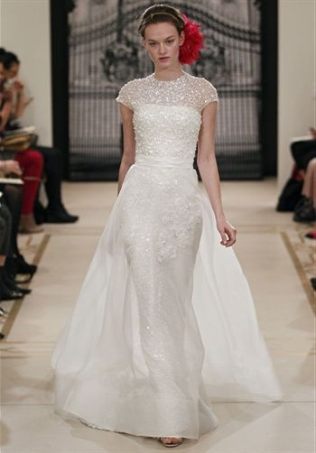 I really like this. #ReemAcra #gown Pearl Beaded top. Pretty. Too ...