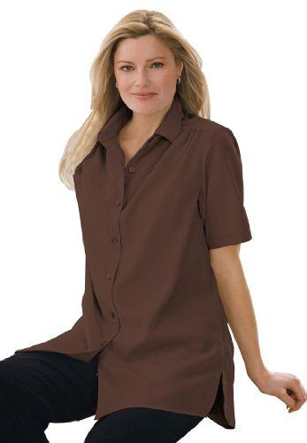 fe87286d1b9 Woman Within Plus Size Shirt In Peachskin With Generous Fit Woman Within.   19.99