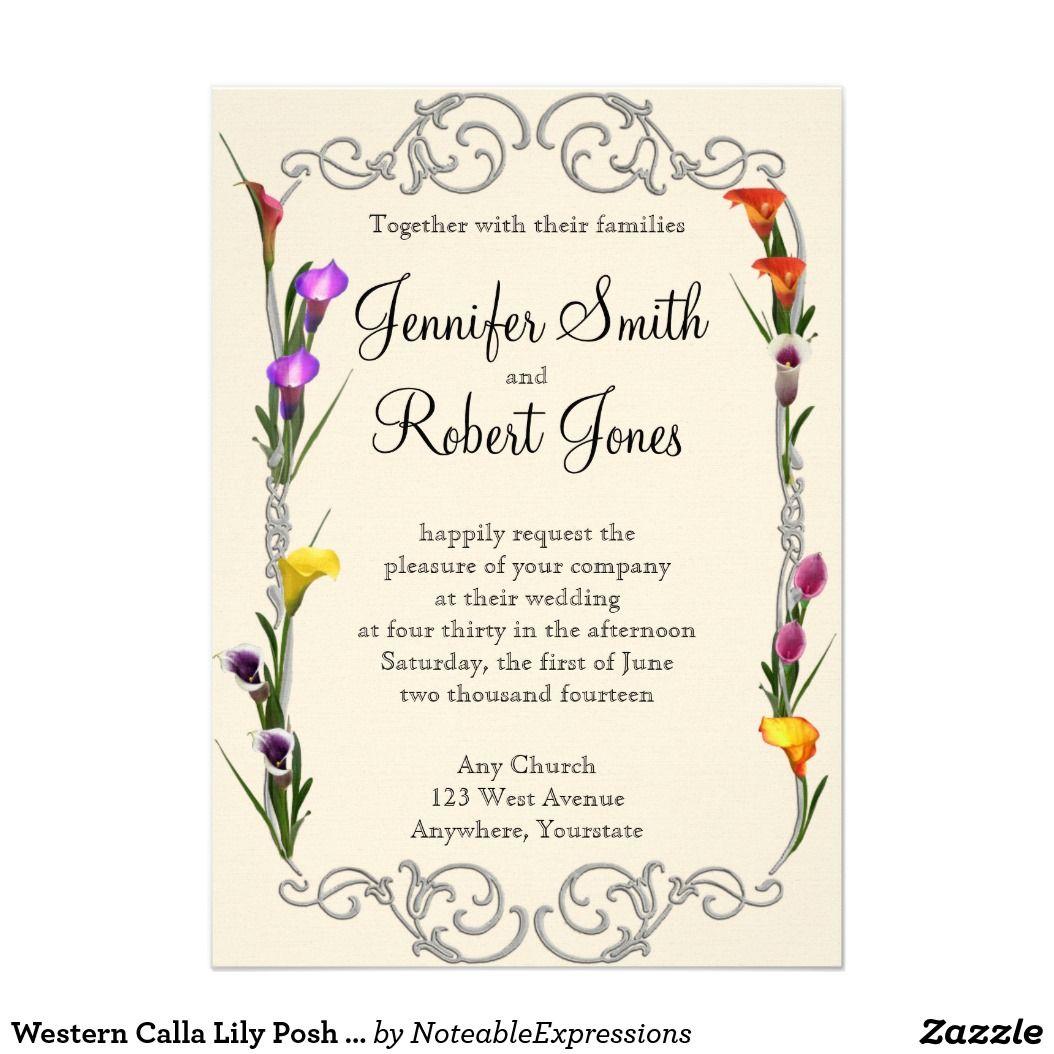 Western Calla Lily Posh Wedding Invitation | Pinterest
