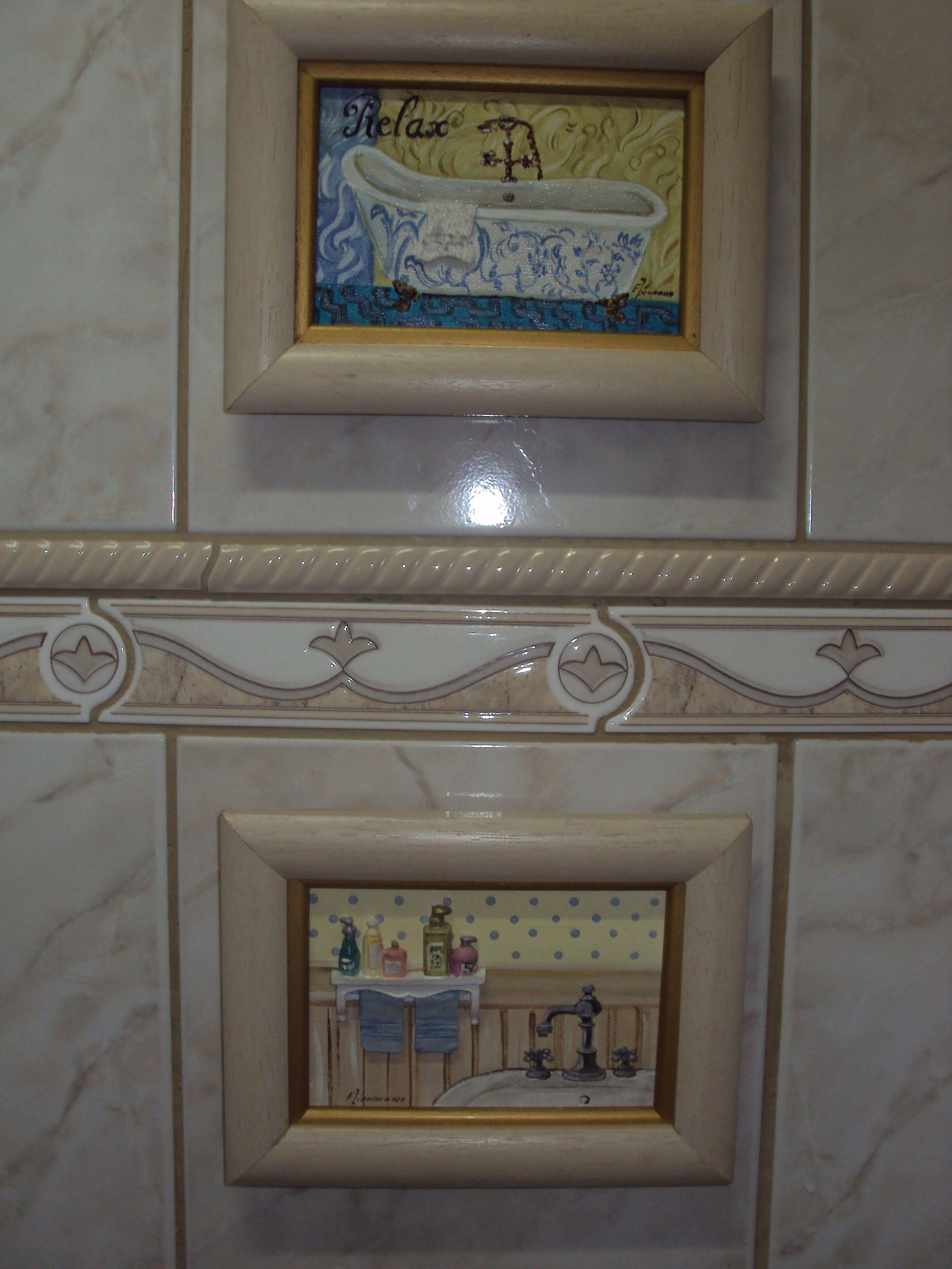 Quadros oleo sob tela banheiro