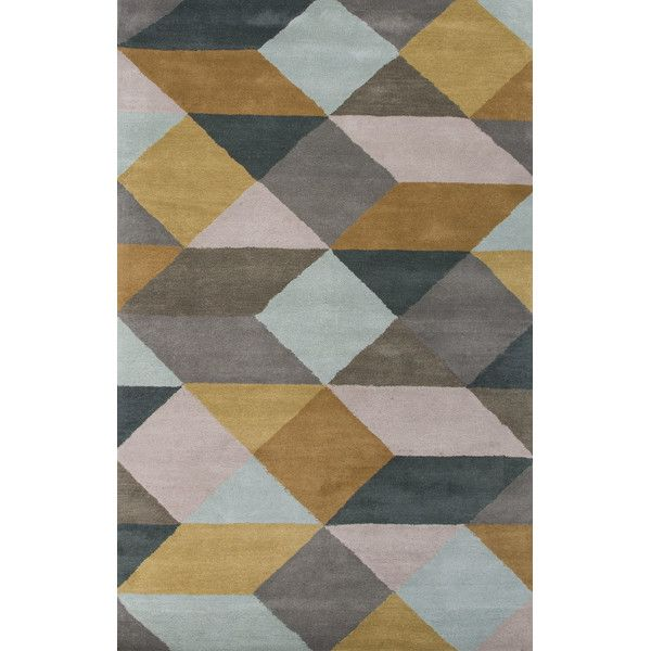 En Casa Gray Yellow Geometric Area Rug Hand Tufted Rugs Wool Area Rugs Area Rugs