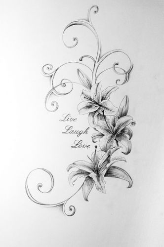 Lily Tattoo Line Drawing : Live laugh love lilies flickr tattoo ideas