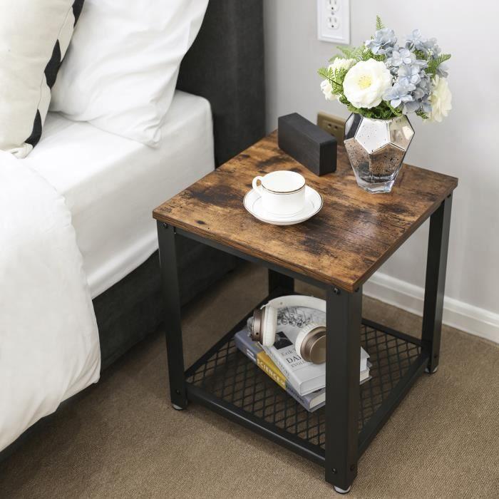 songmics table de chevet style industriel armature en. Black Bedroom Furniture Sets. Home Design Ideas