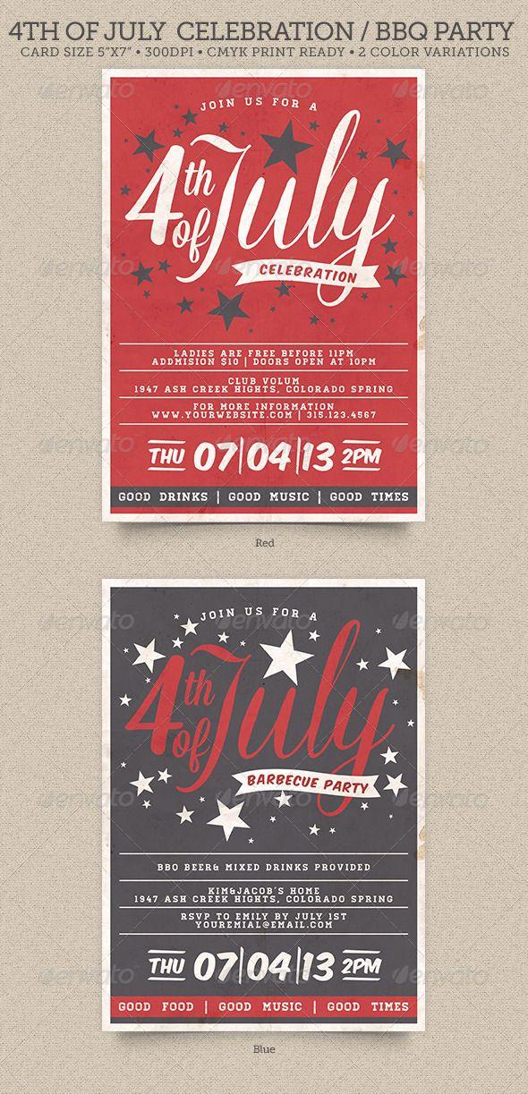 Th Of July Bbq Party Invitation  Invitations Cards  Invites