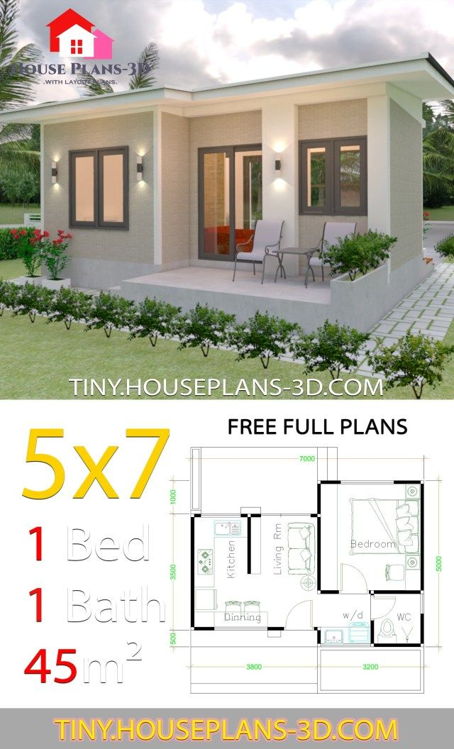 Small House Design Plans 5×7 with One Bedroom Shed Roof – Tiny House Design 3d – Kleine Häuser