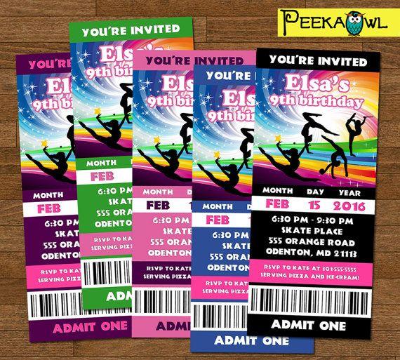 Printable girls gymnastics invitation ticket rainbow gymnastics printable girls gymnastics invitation ticket rainbow gymnastics birthday party invites free girls rainbow gymnastics filmwisefo Images