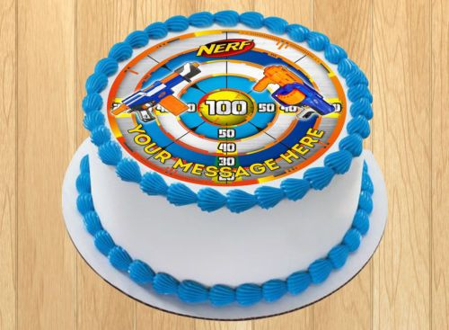 Edible Nerf Cake Topper Birthday Party Wafer Paper Quarter Sheet 8x10 5 034