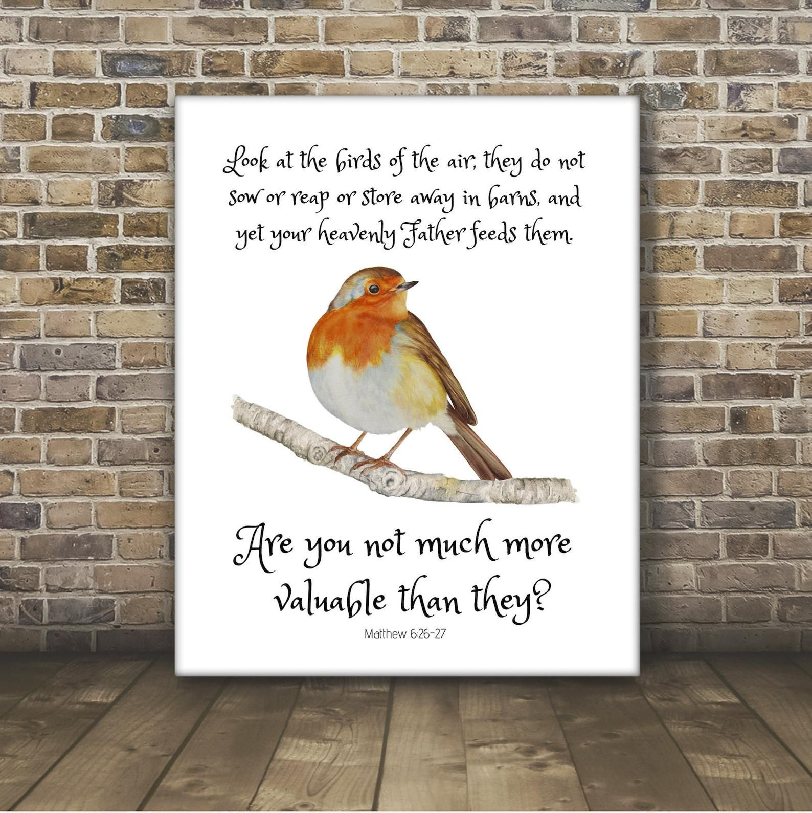 Matthew 6 26 Print Watercolor Bible Verse Wall Art