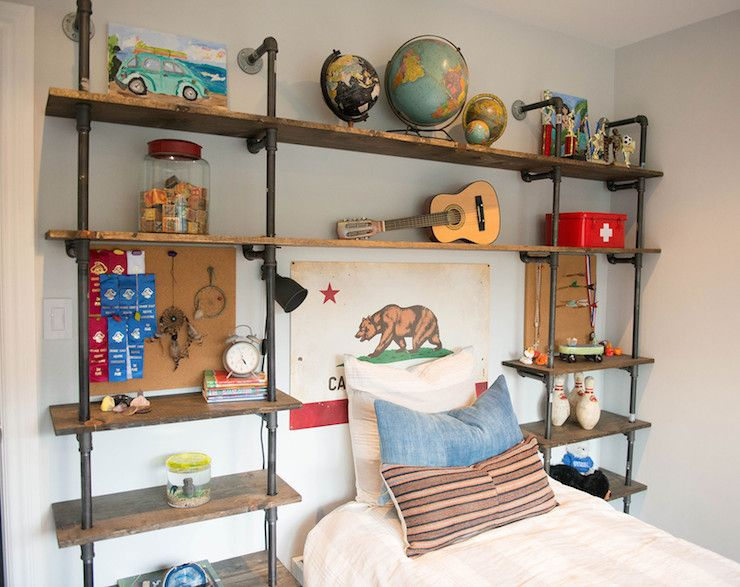 Eclectic Boy 39 S Bedroom Features An Industrial Pipe And
