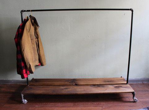 Distressed Wood Rolling Rack - Monroe Trades