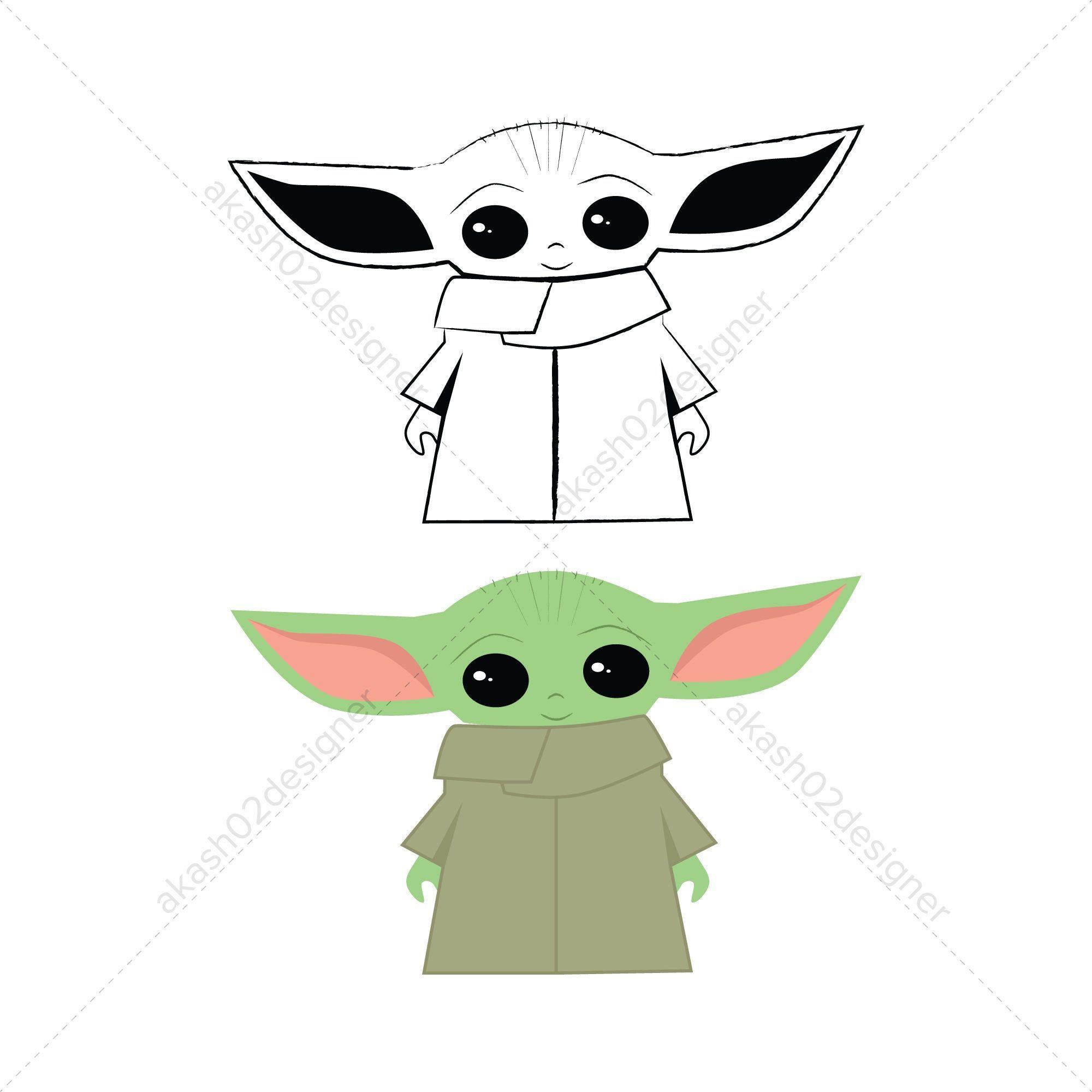 Super cute baby Yoda svg png jpeg AI EPS digital file
