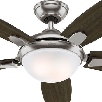 Hunter led contempo 54 ceiling fan brushed nickel finish airflow hunter fan 54 contemporary ceiling fan in brushed nickel with energy efficient led light remote control 5 blade certified refurbished learn more by mozeypictures Choice Image