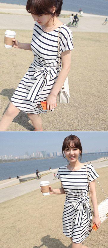 Bow Stripes Nautical Dress