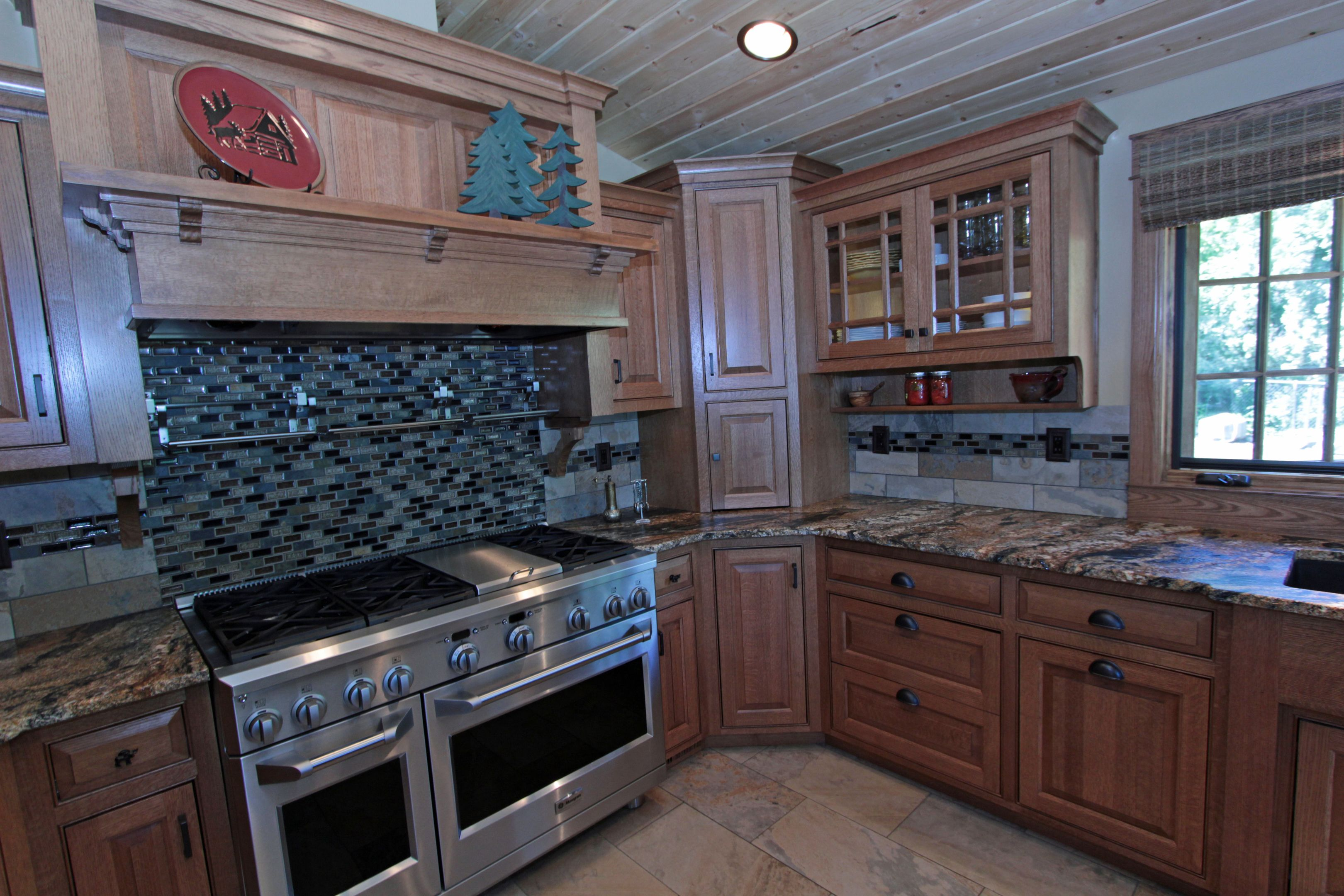 Best Oak Kitchen Cabinets With Grid Glass Affordable Custom 400 x 300
