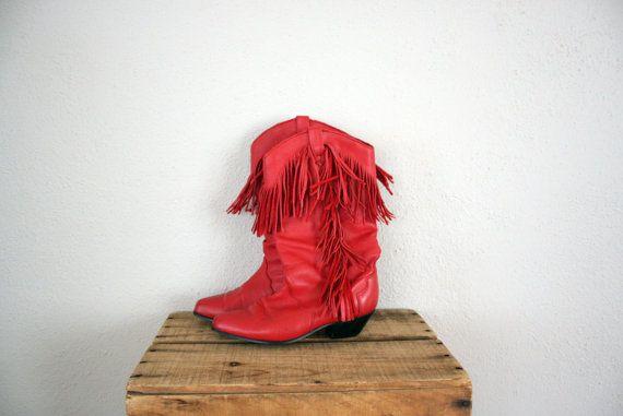 Sale // Red Boots // Leather Fringe Cowboy Boots // by adVintagous, $44.00