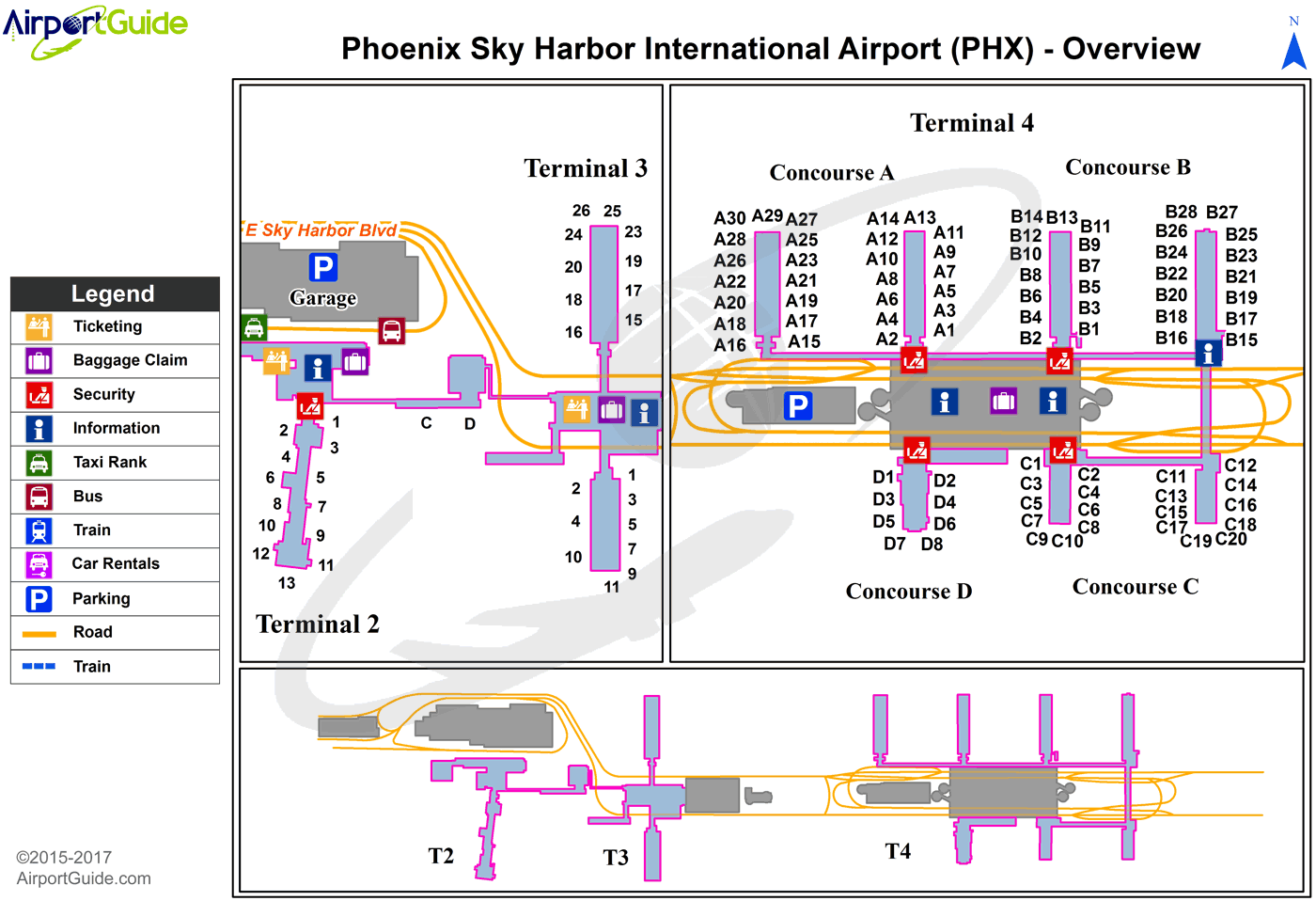 Phoenix Sky Harbor Map Phoenix   Phoenix Sky Harbor International (PHX) Airport Terminal
