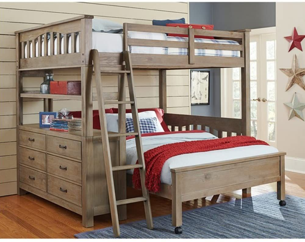 Ne Kids Highlands Full Loft Bed With Desk In Driftwood Bunk Beds With Stairs Kids Loft Beds Kid Beds
