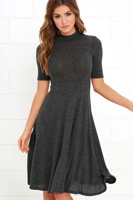 5d8325e5f5a3 Philosophy of Style Dark Grey Midi Dress at Lulus.com!