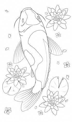 Realistic Coloring Pages Koi Fish Tattoo Coloring Pages Koifishcolors In 2020 Fish Drawings Koi Art Koi Fish Drawing