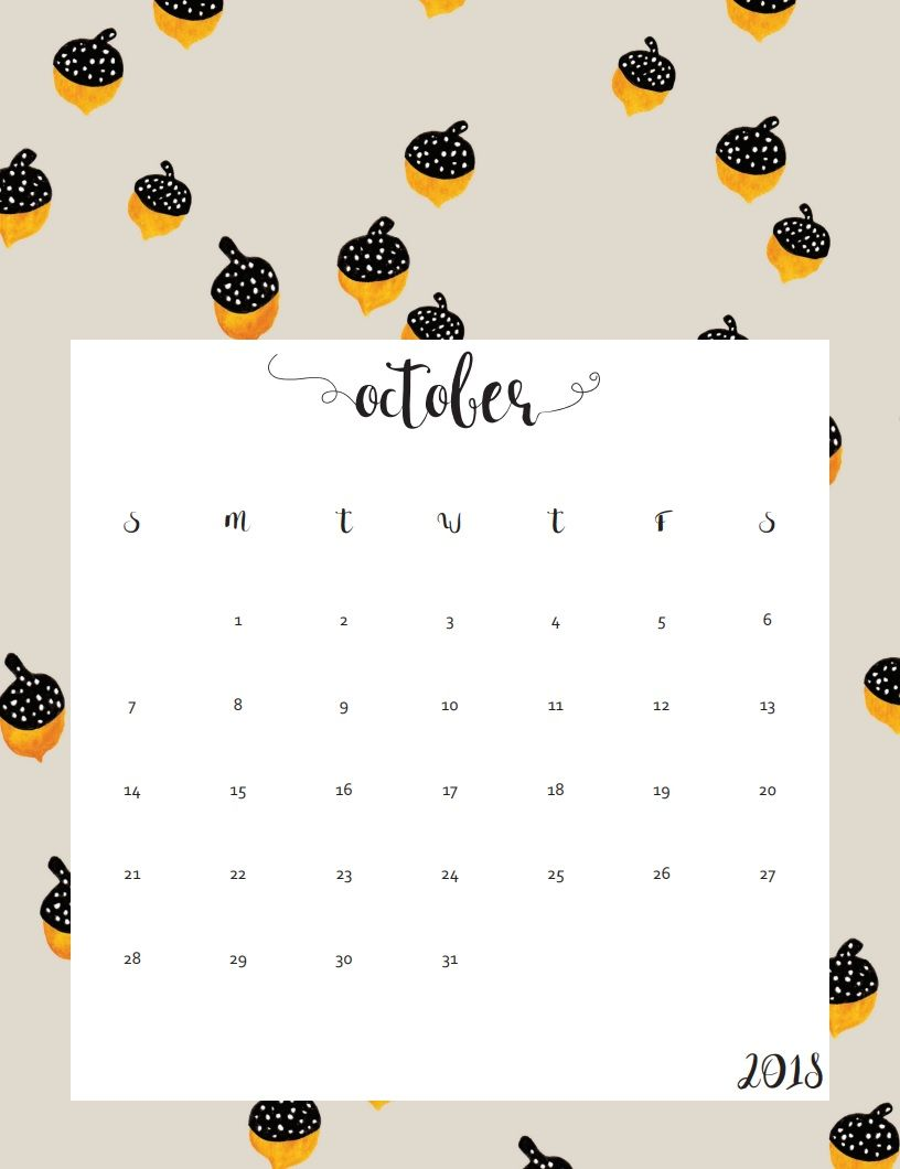 Printable October 2018 Calendar Wall Calendar Calendar Design