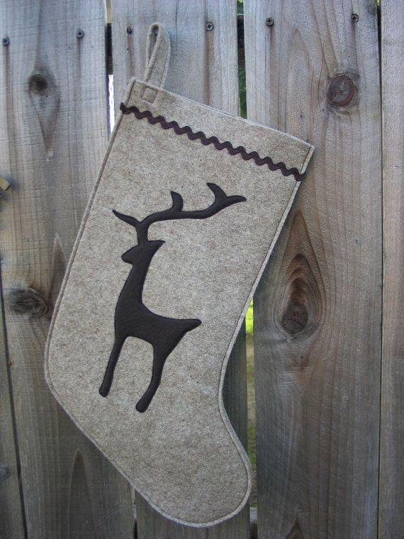 Stocking Christmas Stocking Woodland Reindeer Deer Christmas ...
