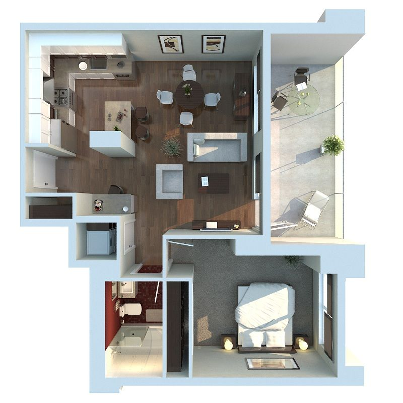 3d one bedroom apartment floor plans