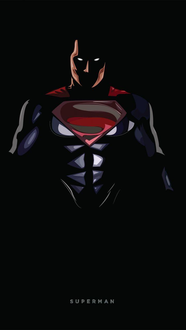 Superman, dark, minimal, 720x1280 wallpaper Superman art