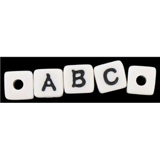 11mm White With Black Letters Alphabet Beads Shop Hobby Lobby Alphabet Beads Lettering Alphabet Black Letter