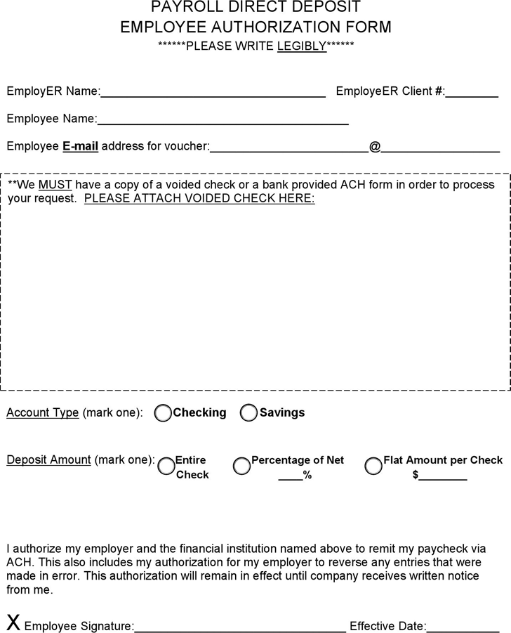 the payroll direct deposit employee authorization form can help – Payroll Authorization Form