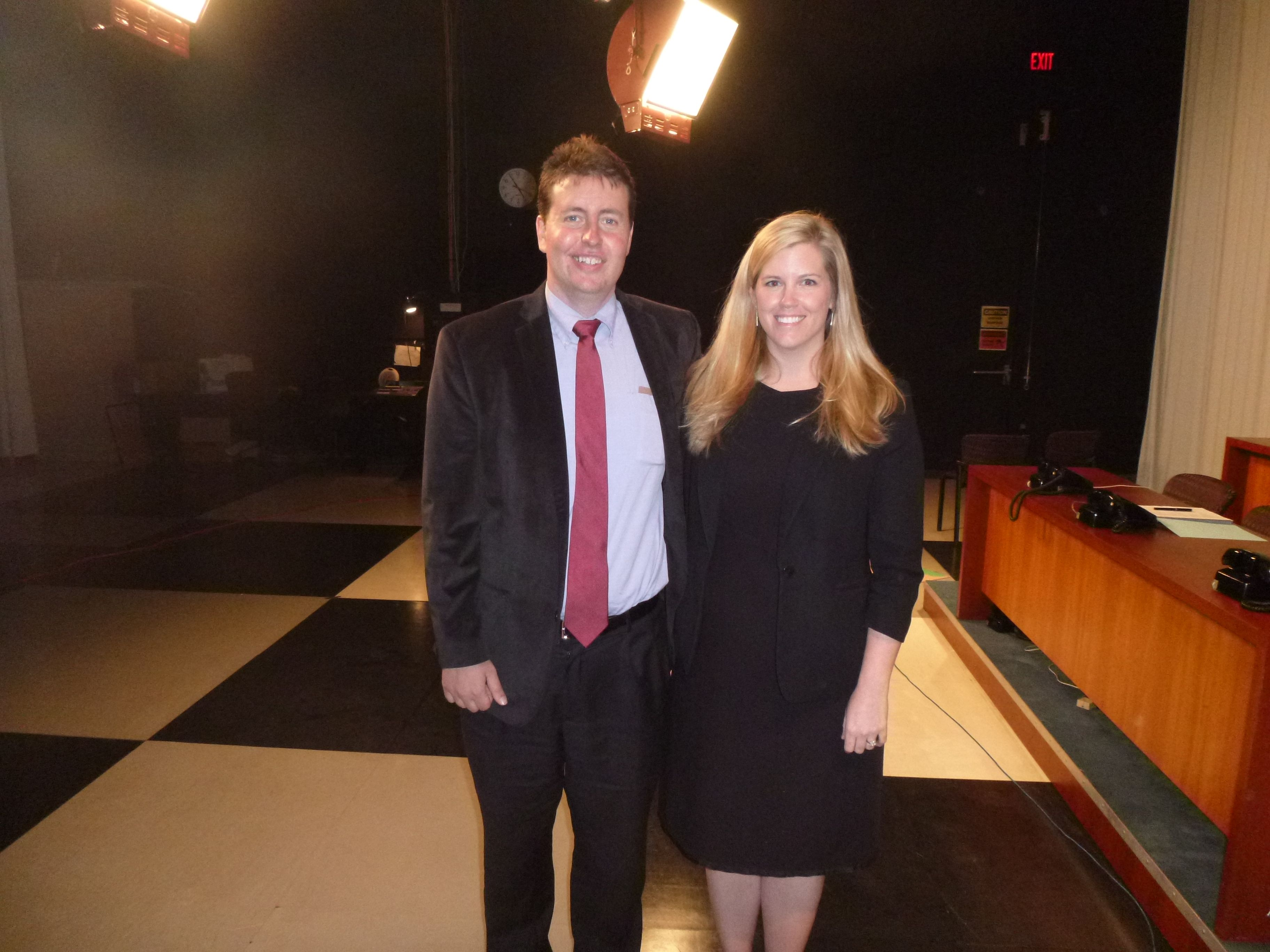 Attorney Evan Guthrie With Katie Mellen Of Nelson Mullins At The South Carolina Bar Ask A Lawyer Event At Wcbd News 2 Studios In Mt New Law Guthrie Law Firm