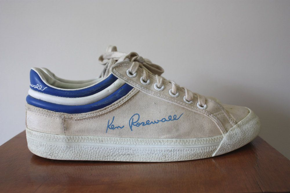 Vintage 1970s Ken Rosewall White Canvas Tennis Sneakers Size UK 8.5