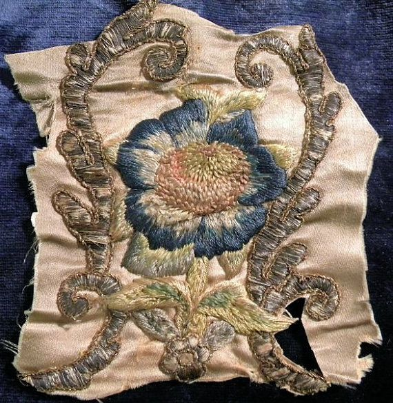 Darling Antique French Silk Applique Metallic by RuinsCa on Etsy, $125.00