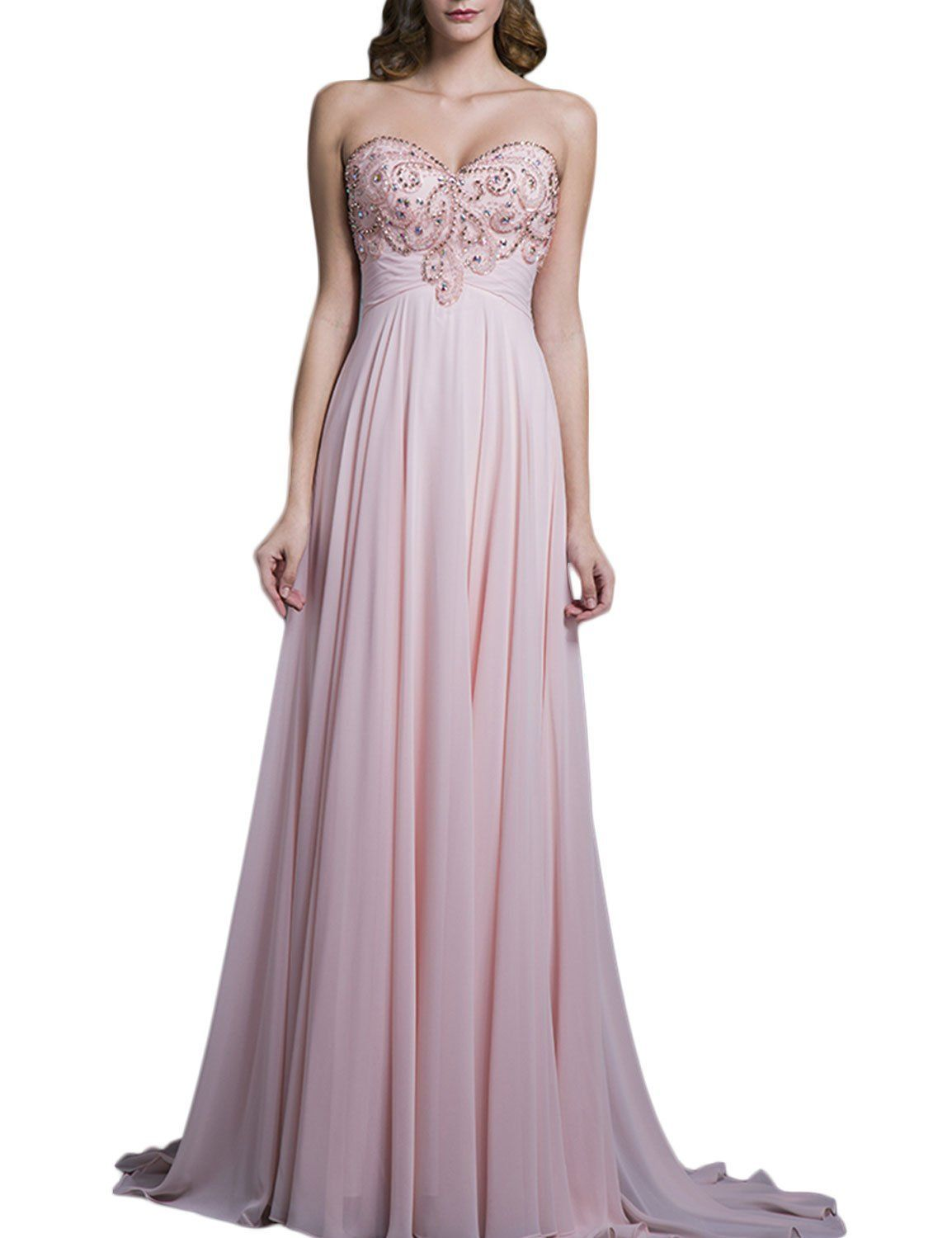 Seasonmall womenus prom dress a line sweetheart peach chiffon