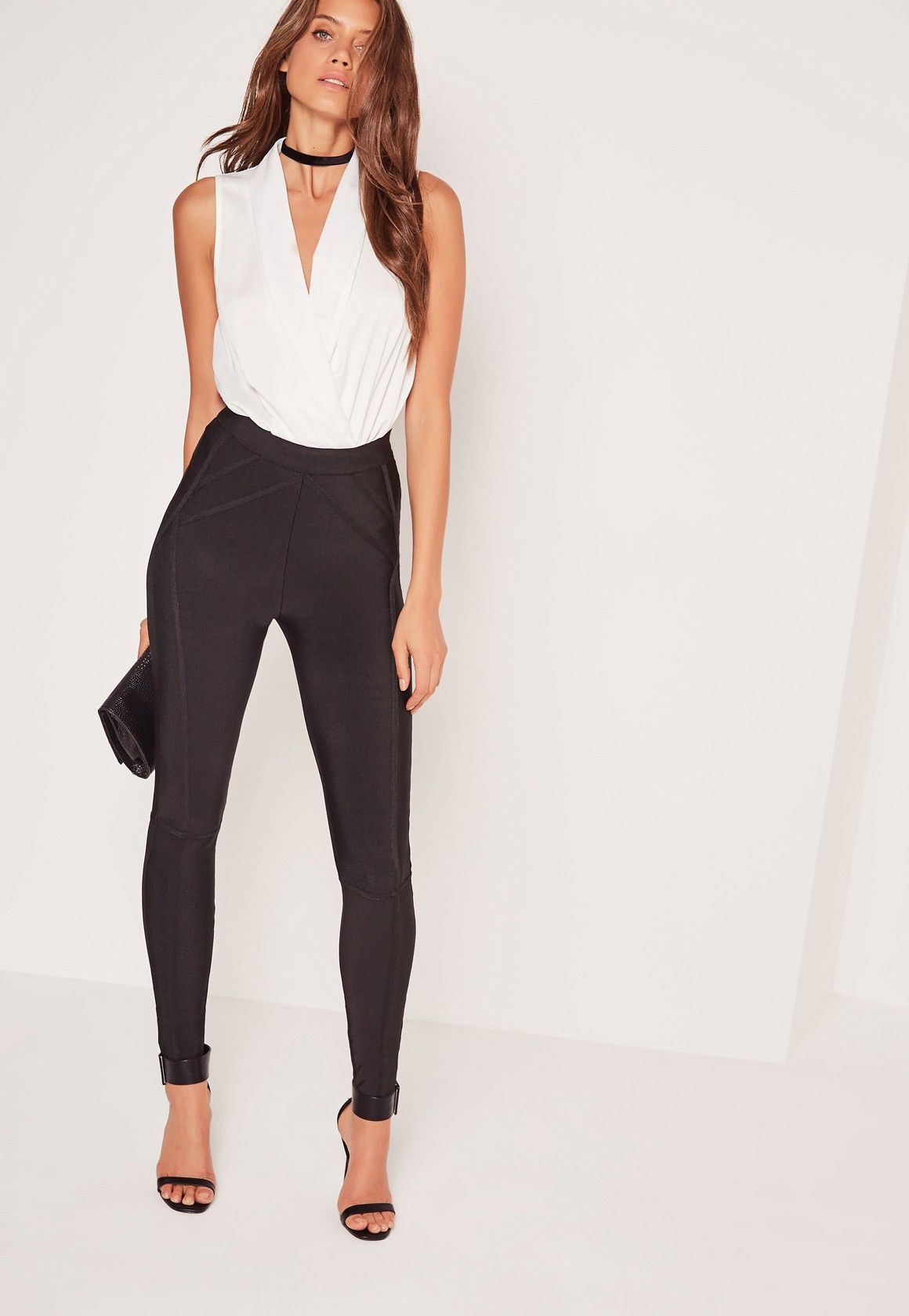 Missguided - Plunge Wrap Over Bodysuit White