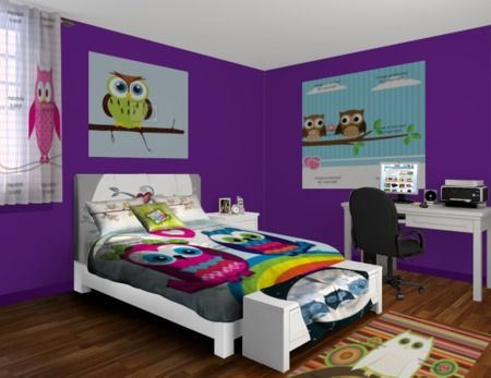 Owl Exposure. Owl Bedroom For Teen Girls. Purple Walls With All Colors Of  Owls