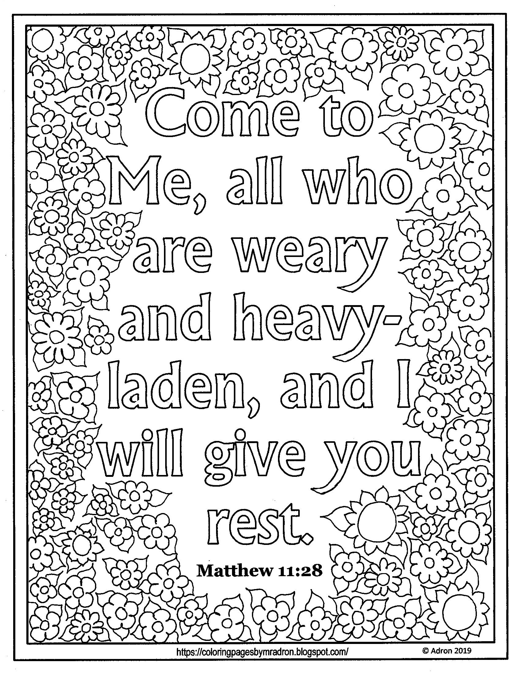 Free Lent Day 36 Print And Color Page With Matthew 11 28